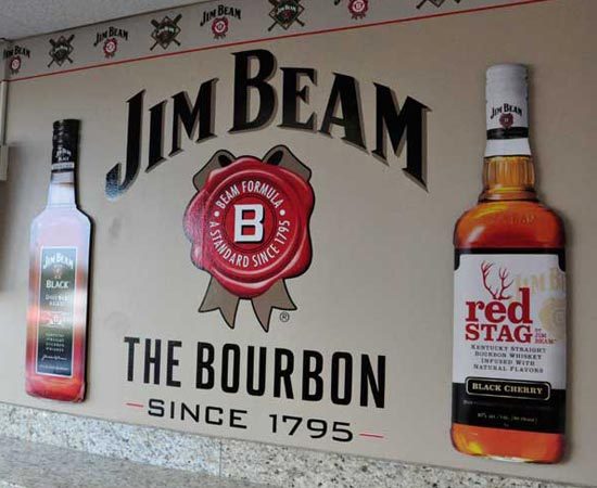 Custom Routered Jim Beam Bottles, Jim Beam Flying Squirrels Suite Graphics